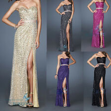 New Sexy Sequins Evening Cocktail Party Gowns Bridesmaid Prom Dresses Size 6-16