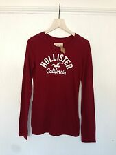 Hollister by Abercrombie and Fitch Burgundy long sleeve T-Shirt S M UK 8 10 12