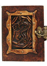 Chinese Dragon Pendant Brown Leather Journal / Diary / Lock / Notebook / Notepad