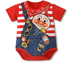 CK18 - Anpanman Red Stripes Baby Toddlers Cotton One Pieces Size 80