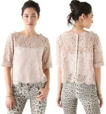 NWOT Joie Elvia Scalloped Lace Blouse Top Color Mushroom