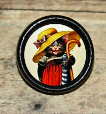 KITTY CAT in Hat w Umbrella & Dress Altered Art Tie Tack or Ring or Brooch pin