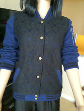 NEW WITH TAGS VICTORIA'S SECRET PINK JACKET BLUE BLACK LACE SMALL PETITE