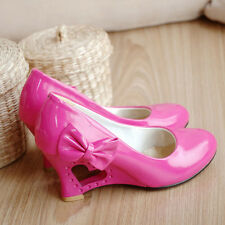 Women's Patent Leather Pointed Toe Wedge High Heel Pumps Shoes AU Size 2.5-9 D53