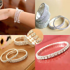 New Crystal Bridal Rhinestone Elastic Bracelet Chain Alloy Wrist Bangle 1-5 Row