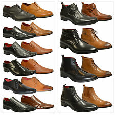 Mens Black Tan New Leather Lined Slip on Lace Up Party Wedding Formal Shoes Size