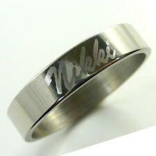 Personalised Stainless Steel Ring Engraved Inside or Outside, Name - Script Font
