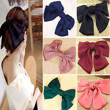 Best Chic Sweet Big Hair Satin Bow Hair Clips Gossip girl style bowknot 6 colors
