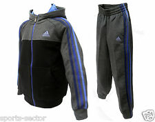 Adidas Performance Essential 3 Stripes Girls Hooded Fleece Tracksuit