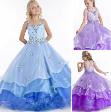 Purple/Blue Organza Puffy Ball Gown Flower Girl's Prom Dancing Party Dresses3-12