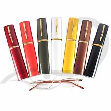 PENCIL THIN READING GLASSES ALL STRENGTHS WITH METAL POCKET SIZE CASE