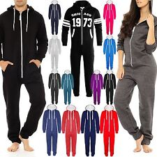 UNISEX MENS WOMENS HOODED ONESIE ZIP PLAYSUIT ALL IN ONE PIECE JUMPSUIT SZ S-XL
