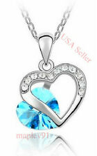 Best Birthday Gift for Girlfriend!18K White Gold Austrian Crystal Heart Necklace