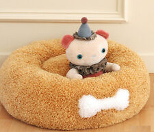Brown Luxury Donut Dog Beds Affetto Pet Mat Couch Cushion Washable Cat Bed M L X