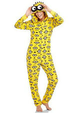 Adult Hooded MINION Fleece Pajamas S-XXL One Piece Union Suit Costume Despicable