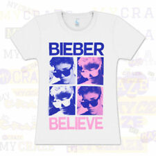 JUSTIN BIEBER Believe Ladies Juniors White Cotton T-Shirt