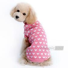 Heart Pattern Knitted Sweater Clothes Costume for Pets Dogs XS/S/M/L/XL