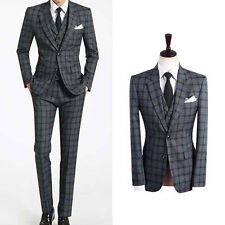 GREY men s suits uk prom groom slim fit wedding tuxedos tartan checks GRAY suit