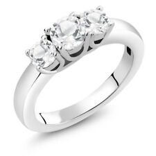1.26 Ct 3-Stone Round Natural White Topaz 925 Sterling Silver Ring