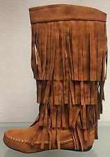 Knee High Mid Calf Faux Suede Moccasin Flat 4 Layer Fringe Side Zipper Boot Shoe