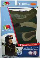 Fruit of the Loom NWT Boys 4 5 6 7 Green Camouflage 2 Pc Thermal Underwear Set