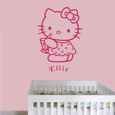 Hello Kitty with Drink - Personalised with a name of your choice - Wall decal