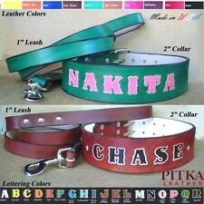 """Name Leather Collar&Leash w/colored letters,2"""" variety of colors,XXL Dog"""