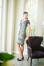 UK6 TO UK30 Black Grey Vintage 1920s Flapper Gatsby Downton Abbey Beaded Dress