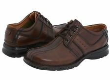 $90 NEW! MENS CLARKS TOUAREG BROWN LEATHER BICYCLE TOE SHOES OXFORDS 70852 SIZE