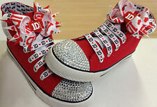 "ONE DIRECTION (1D) RED ""BLINGED"" HI TOPS (SHOES)..COMPLETE WITH BOWS & LACES"