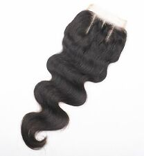 Body Wave 100% virgin human hair Brazilian remy top lace closure 4x4'' free part