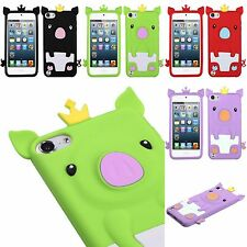For iPod Touch 5th & 6th Gen - Soft Silicone Rubber Skin Case Cover Crown Pig
