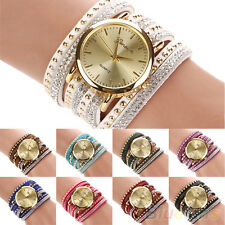 Womens Stunning Vogue Geneva Faux Suede Rivets Rhinestone Multi-Wrap Wrist Watch