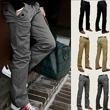NEW Mens Casual Slim Straight-leg Long Trousers Jeans Formal Dress Leisure Pants