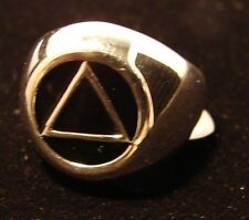Sterling Silver Alcoholics Anonymous AA Symbol Black Enamel Ring 951