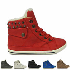 NEW UK WOMENS GIRLS FLAT LACE UP SPORTS HI TOP FUR BOOTS TRAINERS SHOES SIZE3-8