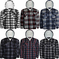 Mens Padded Quilted Lumberjack Warm Fur Work Hooded Hoodies Shirts Jacket Top