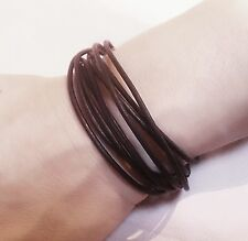 Black Brown or Tan leather Surf style bracelet wrist band cuff anklet necklace