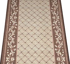 Dean Caramel Scroll Border Washable Non-Skid Carpet Rug Runner