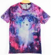 Hot New Mens Womens 3D Animal Cat Galaxy Short Sleeve Round Tops Casual T-Shirt