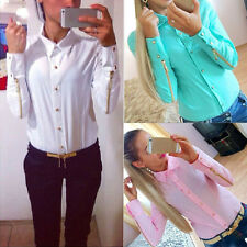 Fashion Women Chiffon Shirt Long Sleeve Button Down Casual Tops Blouse Gorgeous