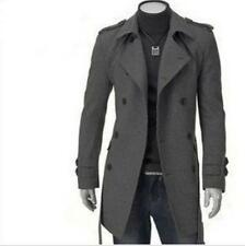 Mens Slims double-breasted coat thick woolen coat jacket and long sections belt