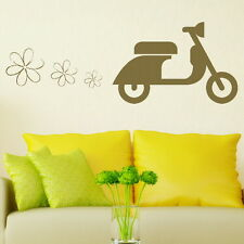 Cute scooter eco freindly wall art sticker vinyl decal huge transfer stencil x08