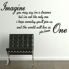 John Lennon Imagine Song Lyic Interior Wall Quote Removable Wall Quote Art qu79