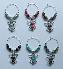 PRECIOUS ANGEL WINE GLASS CHARMS -SET OF 6 (CHOOSE YOUR COLOR STYLE)