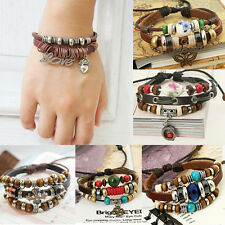 NEW Multilayer Punk Style Leather Band Charms Bracelet Beaded Cuff Chain Bangle