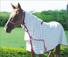 Capriole Ripstop Cotton Rose & Aqua Check Summer Horse Combo Rug