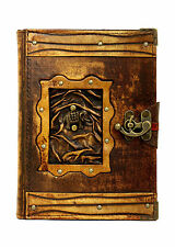 Elephant Refillable Leather Journal / Diary / Lock / Brown Notebook Handmade