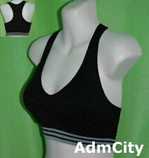 Striped No Wire Racer Back Spandex Padded Sports Bra with Removable Pads Sexy