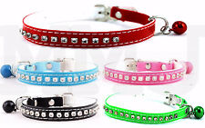 PET CAT COLLARs PU leather DIAMANTE with SAFETY ELASTIC and BLING BELL COLLAR